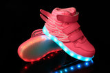 LED Pink Shoes (Kids) High Top