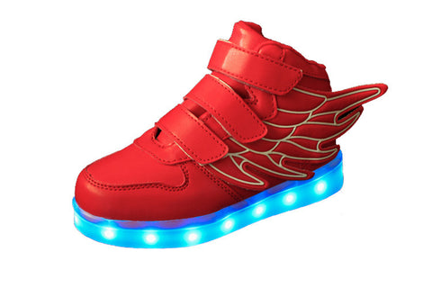 LED Red Shoes (Kids) High Top w/ Wings
