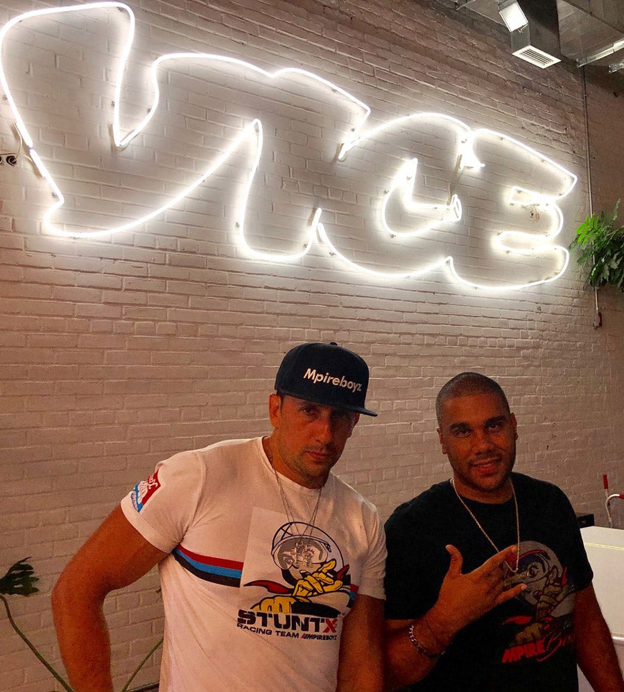 Joseph Tedesco aka Joey, car racer in burnouts, and Manolo Cruz aka Nolo owner of Mpireboyz at Vice wearing Stuntx for Street Gods series.