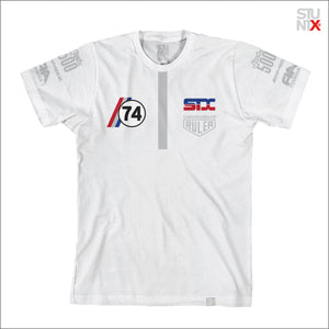 Stuntx underground racing apparel for the streets, F1 Podium t-shirt in white color.