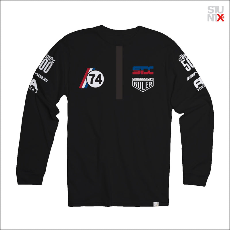 Black long sleeve illegal podium t-shirt for underground street racers