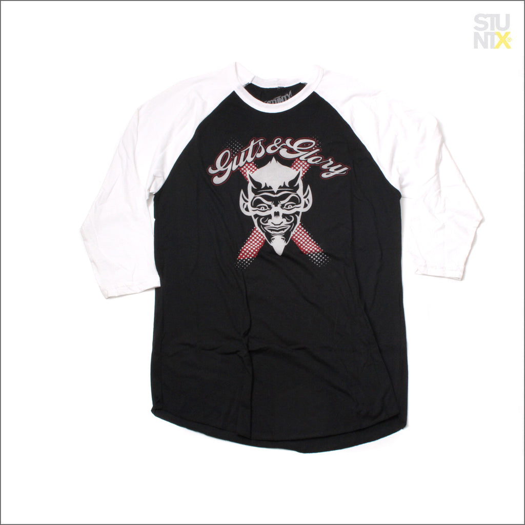 STUNTX® ORIGINALS Guts & Glory 3 Quarter Raglan Sleeve T-Shirt