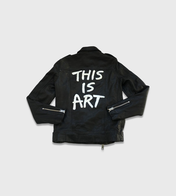 All Saints Black Moto Jacket / Custom Art