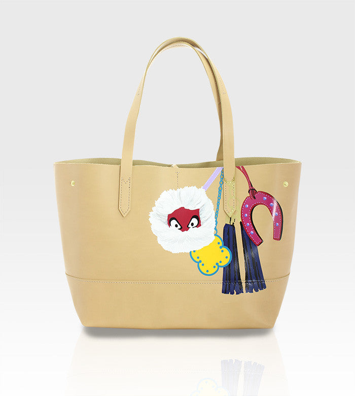 J.Crew Uptown Leather Tote / Custom Art