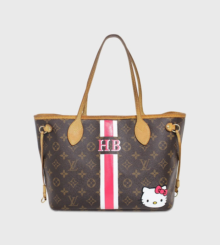 Louis Vuitton Neverfull / Lettering + Stripes + Custom Art