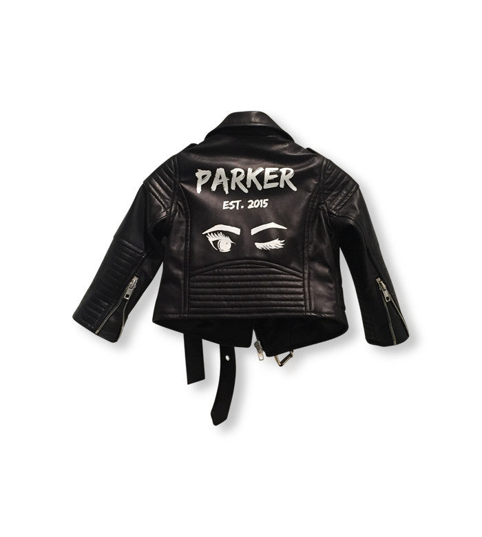 Laer Classic Kid's Leather Jacket / Custom Art