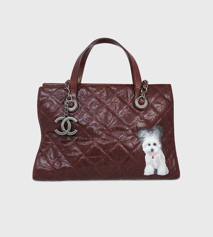 Chanel Burgundy Handbag / Custom Art