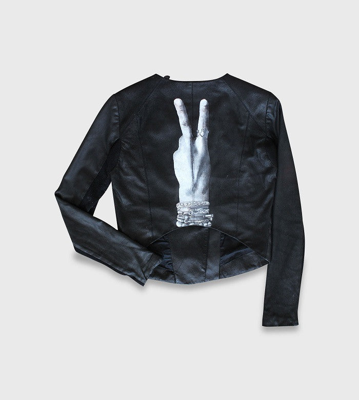 Black Leather Crop Jacket / Custom Art