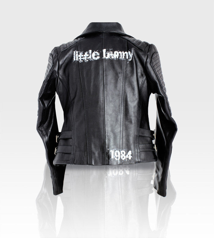 Black Leather Moto Jacket / Custom Art