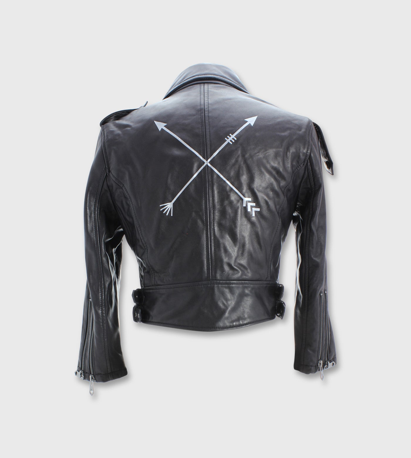 Black Leather Moto Jacket/ Custom Art