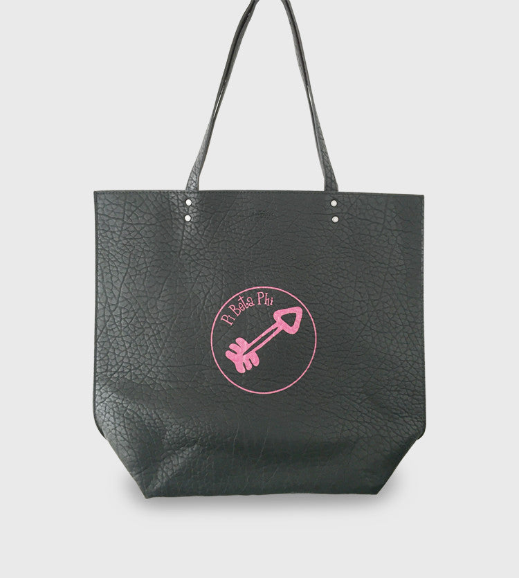 Black Pebble Leather Tote / Pi Phi Custom Art