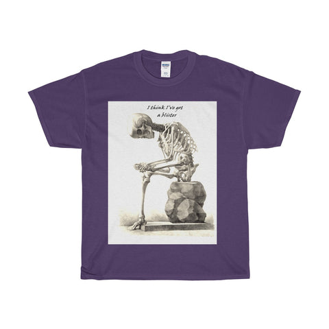 Heavy Cotton T-Shirt with Skeleton Art Print