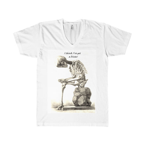 Fine Jersey V-Neck T-Shirt with Skeleton Art Print
