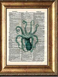 Octopus Art Print on Antique Book Page Vintage Illustration Tentacles