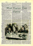 ART PRINT ON ORIGINAL ANTIQUE BOOK PAGE Alice in Wonderland Mad Hatter tea Party