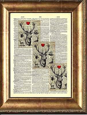 ART PRINT ORIGINAL ANTIQUE BOOK PAGE OLD Dictionary Vintage STAG HEARTS DEER