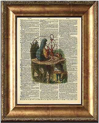 Alice in Wonderland Art Print on Antique Book Page Talking to Caterpillar