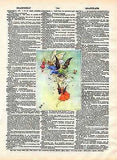 Fairies Art Print on Antique Book Page Vintage Illustration