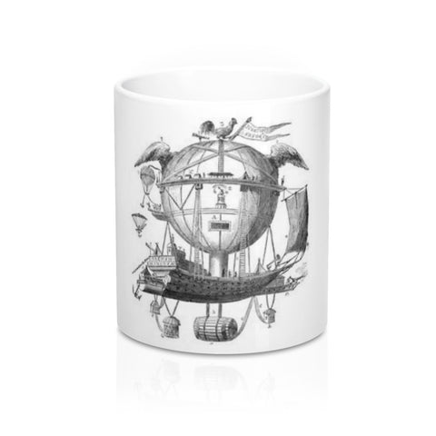 Mug 11oz with Hot Air Balloon Flying Airship Art Print