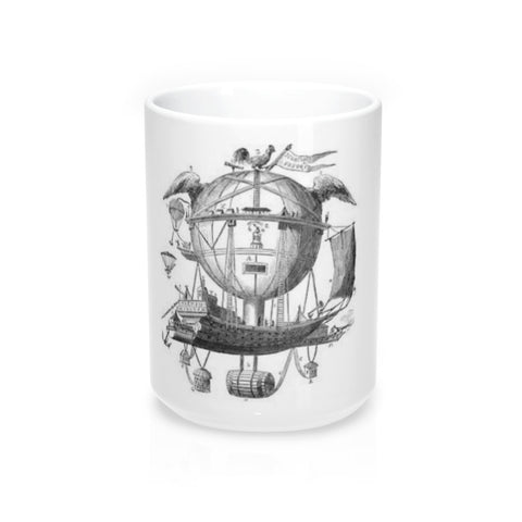Mug 15oz with Hot Air Balloon Flying Airship Art Print