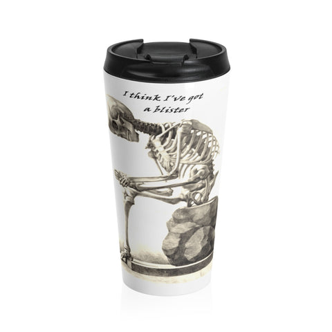 Stainless Steel Travel Mug with Skeleton Art Print