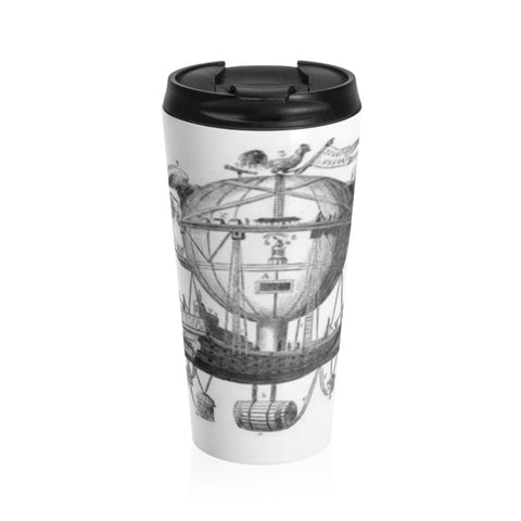 Stainless Steel Travel Mug with Hot Air Balloon Flying Airship Art Print