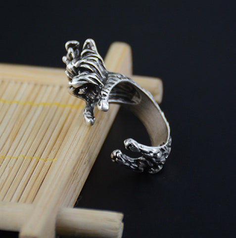 Vintage Silver Yorkshire Terrier Wrap Ring Men Jewelry Love Animal Anillos Boho Chic Rings For Women Aneis