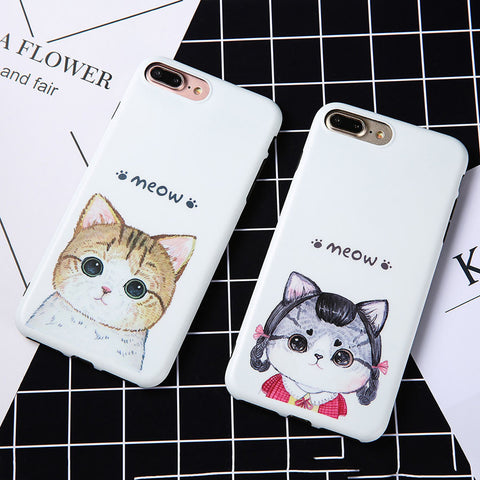 Cute Cartoon Cat Print Pattern Case For iphone 7 6 6S Plus Cover Ultra Thin Soft TPU Silicone Silicon GEL Rubber Protector Shell