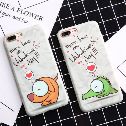 Cute Cartoon Dog Crocodile Cat Case For iphone 7 6 6S Plus Cover High Quality IMD Soft TPU Rubber Phone Cases Lovely Animal Capa