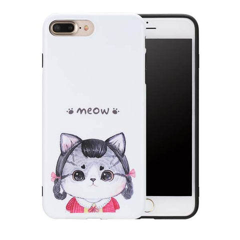 New Arrival Cartoon silicon case For Apple iPhone 7 7 Plus Cover Cute Cat Pattern Ultra Thin soft gel TPU Shock-proof Funda Capa