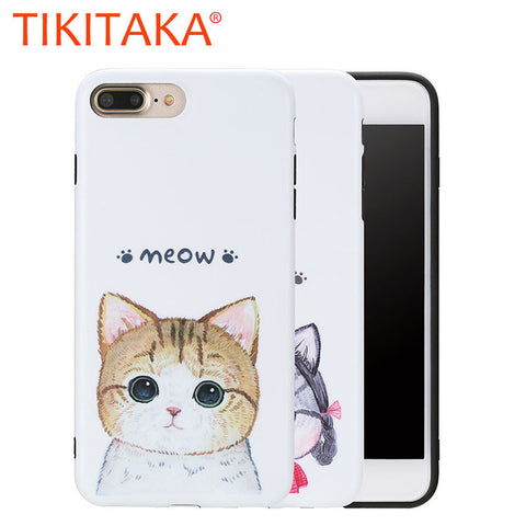 Ultra thin Soft Cute Cartoon Cat Printed Phone Cases For iphone 7 7 Plus Capa High Quality Soft TPU Silicon GEL Rubber Protector