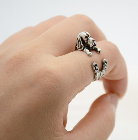 Vintage 3D Basset Hound Puppy Animal Wrap Ring Men and Women