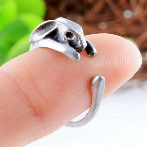 New Arrival Antique Silver Boho Wrap Rabbit Rings Cute Mid finger Animal Rings