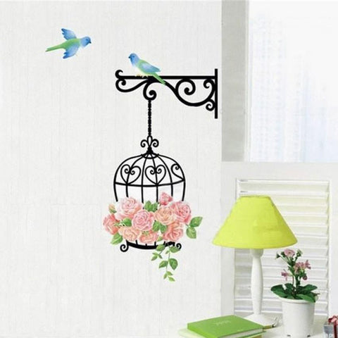 Super Deal New Fashion Rose Flower Bird Wall Decal Sticker Home Decor Vinyl Removeable Mural Sticker Hot Selling