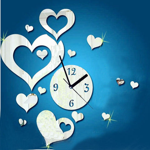Love Heart-Shaped Wall Sticker Home Decoration Clock Wall Stickers Home Decoration Removable Vinyl Wall stickers Art Decals