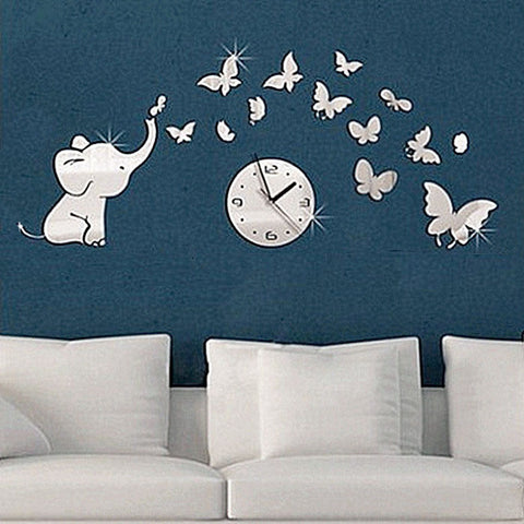 Direct Selling Real Stickers Trustworthy Home Decoration Elephants Play Butterfly Sticker Diy Mirror Wall Clock Decal Cami