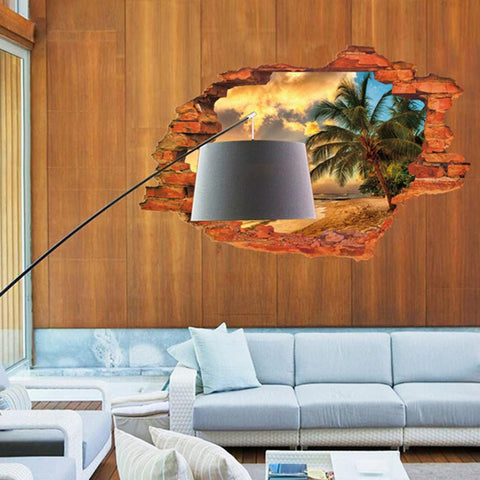 Super Deal 3D Wall Decals Sunset Seascape 3D Window View Removable Wall Sticker  Home Decor Mural Decal XT