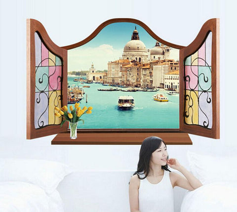 Super Deal Hot Sale Window Venice 3D Window View Removable Wall Sticker Art Vinyl Decal Decor Mural for bathroom posters XT