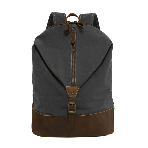 "ECOSUSI Canvas Genuine Leather 15.6"" Laptop Backpack Rucksack Business Bag"