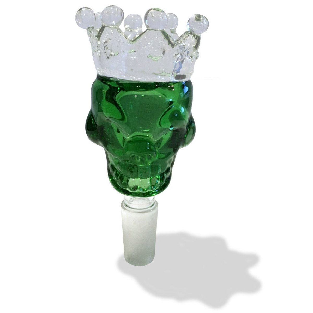 14mm Male Green Skull Crown Herb Holder - Green Goddess Supply