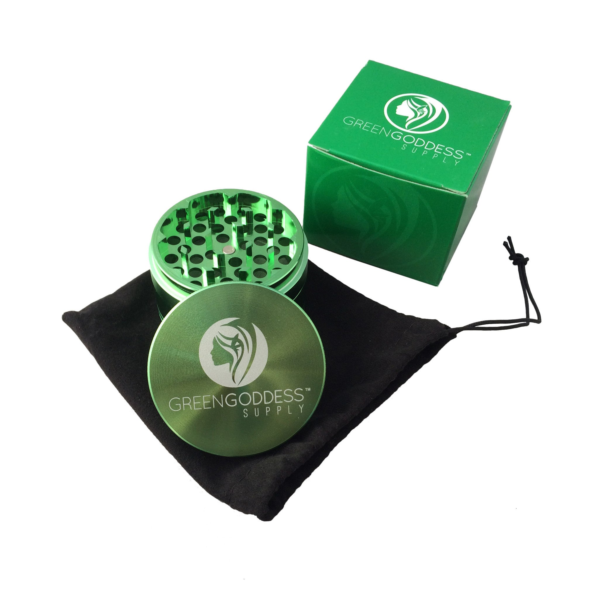 "2.5"" 4-Piece Aluminum Grinder - Green - Green Goddess Supply"