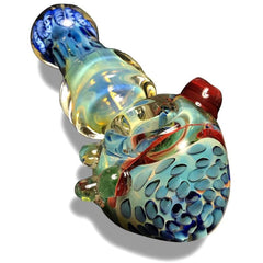 Multi-Colored Glass Spoon with Blue Swirls - Green Goddess Supply