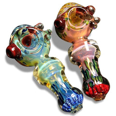 HIS AND HERS Bundle! Multi-Colored Glass Spoons with Pink and Blue Swirls - Green Goddess Supply
