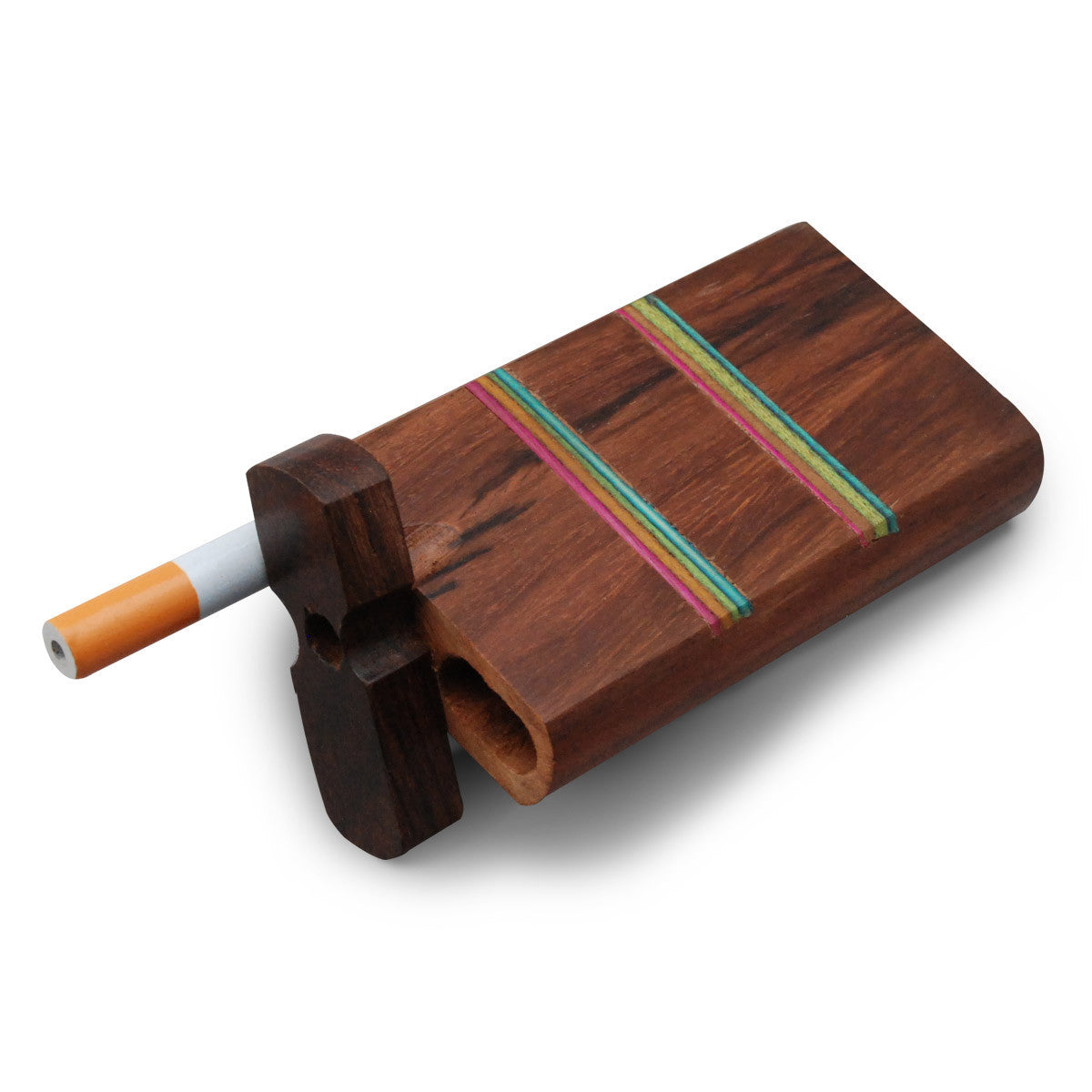 4 Swivel Cap Wooden Dugout - Rainbow Stripe