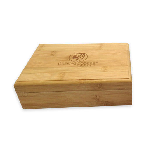 Delicieux Bamboo Storage Box W/ Rolling Tray Lid   Green Goddess Supply