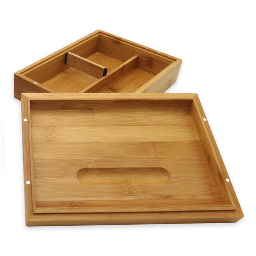 Bamboo Storage Box W/ Rolling Tray Lid   Green Goddess Supply