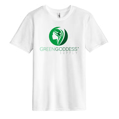 Men's Tri-Blend White Logo Tee Shirt - Green Goddess Supply