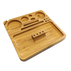 "Bamboo Rolling Tray w/ Magnetized Rolling Jig (8.5"" x 8"") - Green Goddess Supply"