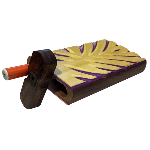 "4"" Carved Wood Swivel Cap Dugout - Yellow/Purple"
