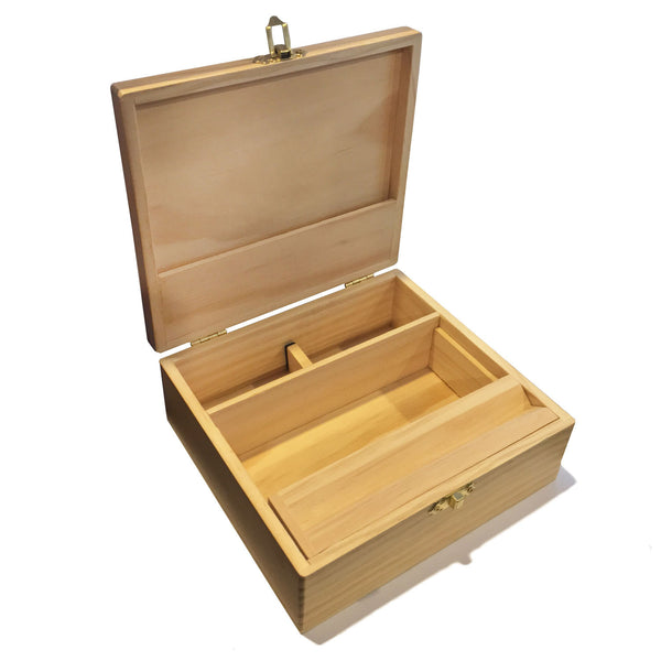 Large Wooden Storage Box w/ Latching Lid & Rolling Jig
